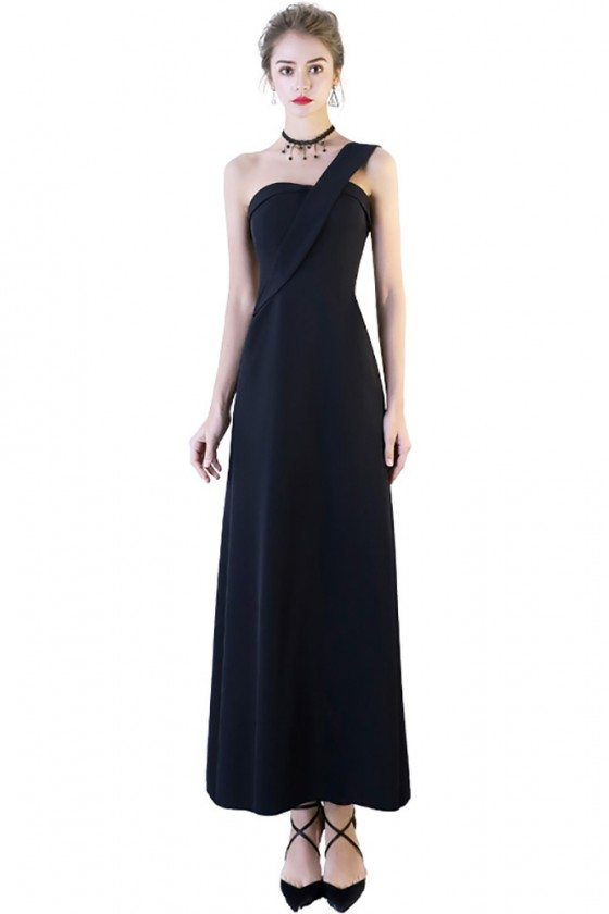 Simple One Shoulder Maxi Black Party Dress