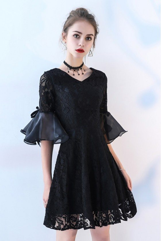 Short Black Lace Homecoming Dress Vneck with Bell Sleeve
