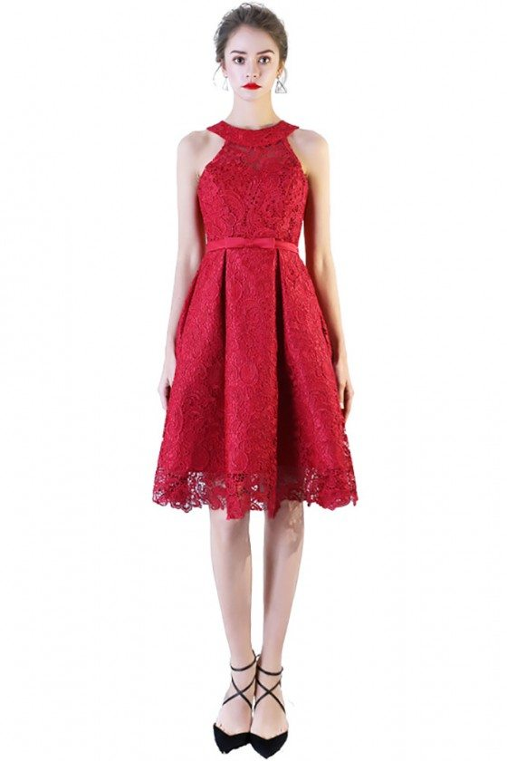 Burgundy Red Lace Short Homecoming Dress Halter Neck