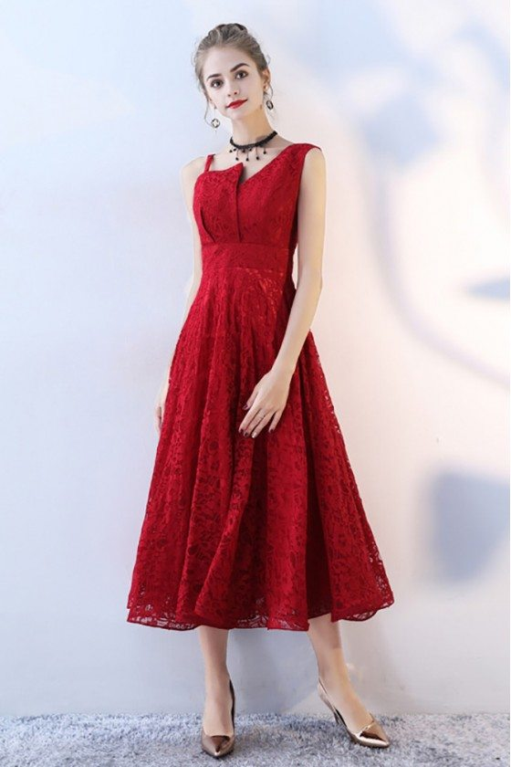 Red Tea Length Lace Party Dress Sleeveless