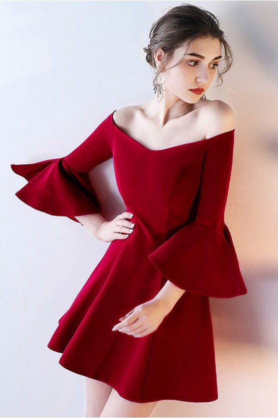 Short Off Shoulder Homecoming Dress Flare with Bell Sleeves