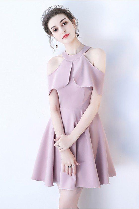 Pretty Mauve Short Homecoming Dress Aline with Ruffles