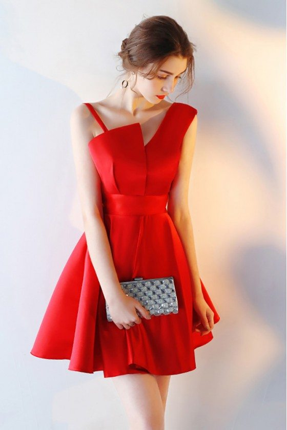 Red Satin Short Homecoming Dress Flare with Straps