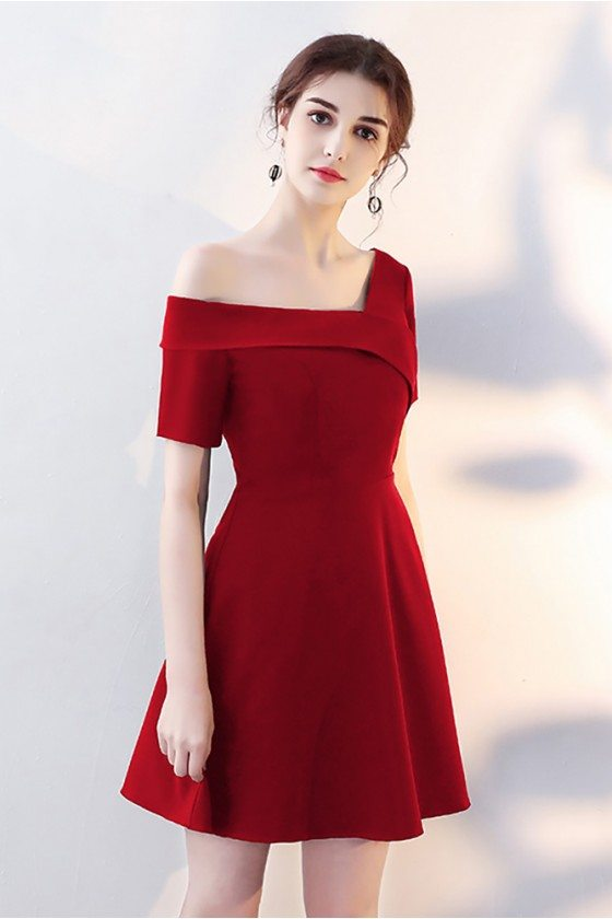 Special Asymmetrical Off Shoulder Red Homecoming Dress with Sleeves