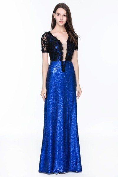 Lace And Sequins V-neck Long Formal Dress