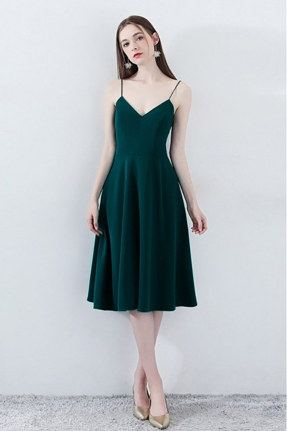 Chic Dark Green Homecoming Dress Bow Back V-neck with Straps