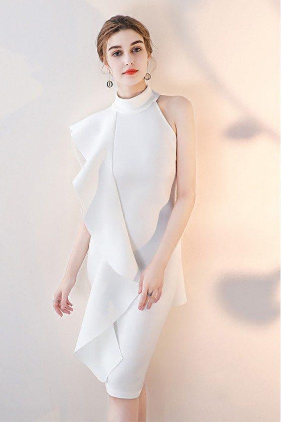 White Ruffled Cocktail Party Dress Short Halter
