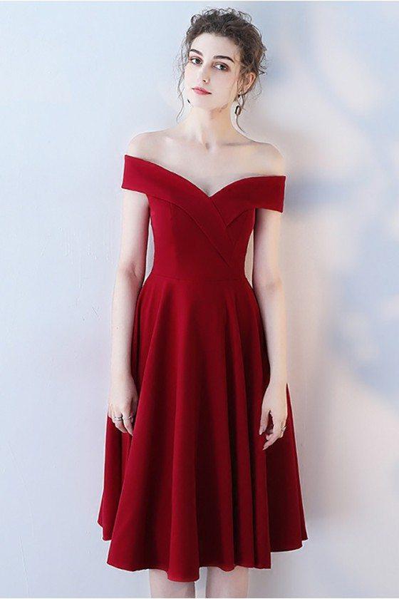 Gorgeous Burgundy Off Shoulder Homecoming Dress Knee Length