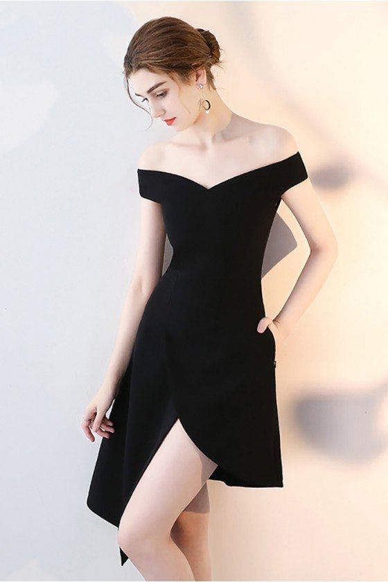 Chic Black High Low Homecoming Dress Off Shoulder