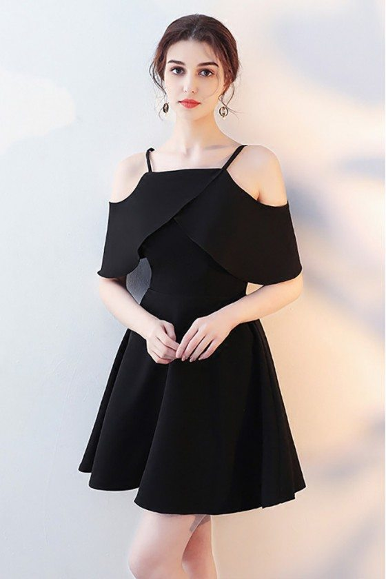Simple Black Aline Homecoming Dress with Flounce Straps