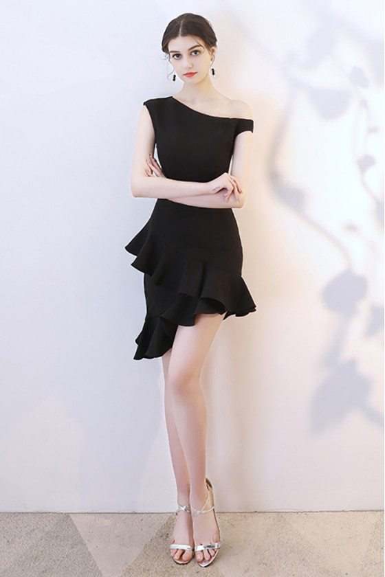 Little Black Mermaid Short Party Dress One Shoulder