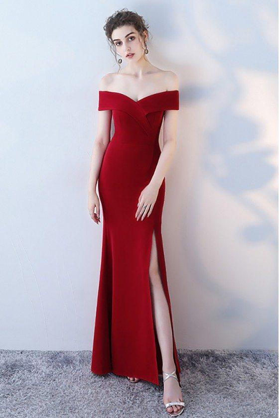 Burgundy Off Shoulder Mermaid Formal Dress with Side Slit