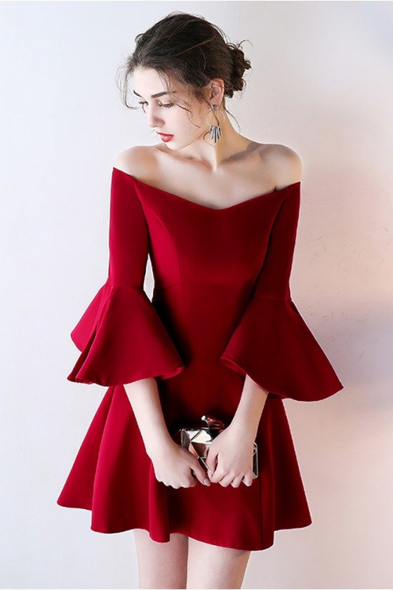 Burgundy Off Shoulder Short Homecoming Dress with Bell Sleeves