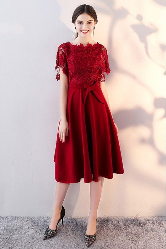 Lace Sleeve Tea Length Party Dress with Sleeves