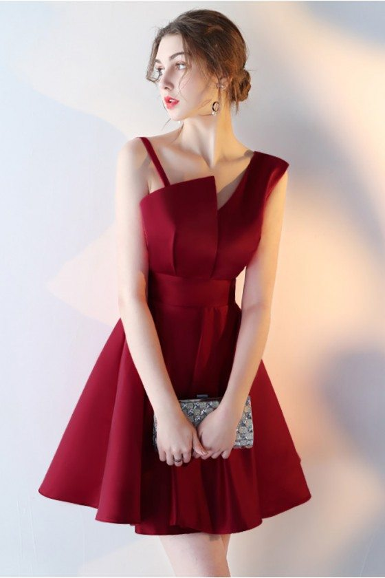 Short Aline Burgundy Red Homecoming Dress with Straps