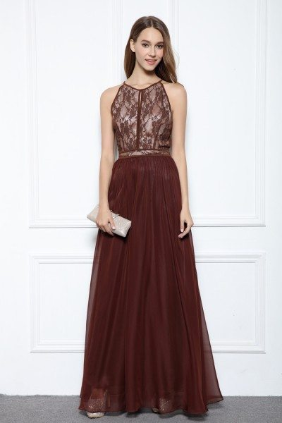 Sleeveless Lace Chiffon Ball Dress