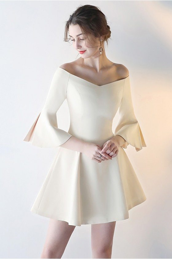 Champagne Flare Short Homecoming Dress with Off Shoulder Bell Sleeves
