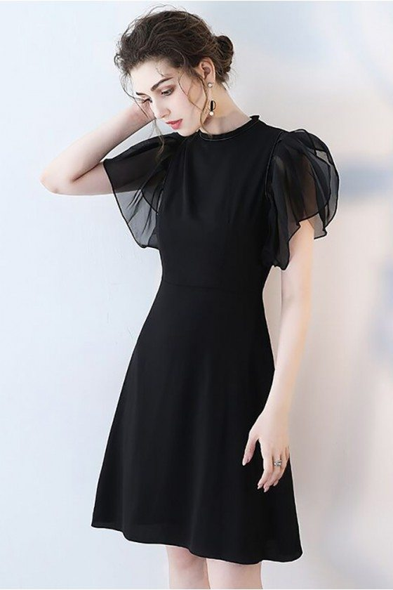 Chic Black Short Formal Party Dress with Puffy Sleeves