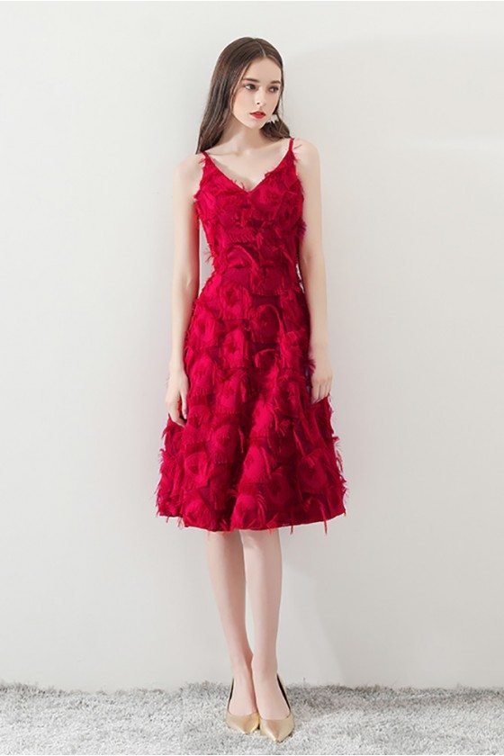 Burgundy Feathers Knee Length Homecoming Dress with Straps