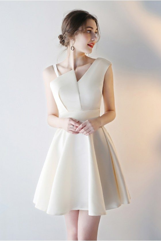 Champagne Short Homecoming Party Dress with Asymmetrical Straps