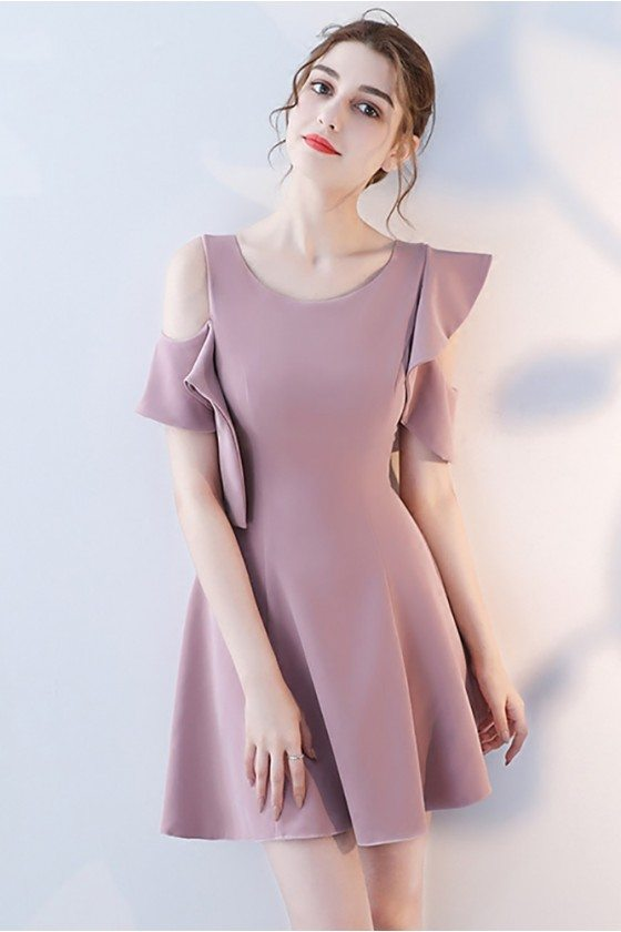 Pretty Mauve Short Homecoming Dress Round Neck with Ruffles