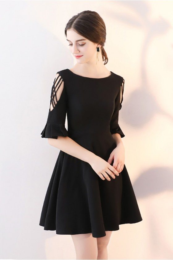 Short Black Homecoming Dress Flare Aline with Sleeves