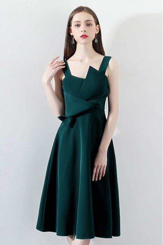 Elegant Dark Green Pleated Aline Party Dress with Wrap