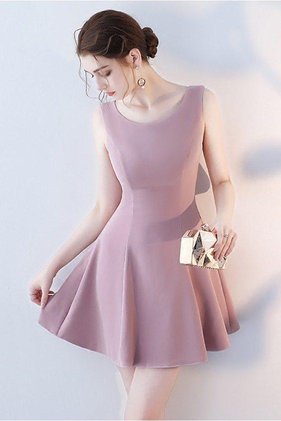 Mauve Short Homecoming Party Dress Round Neck Sleeveless