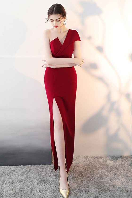 Sexy Slit Burgundy Fitted Prom Dress with One Shoulder