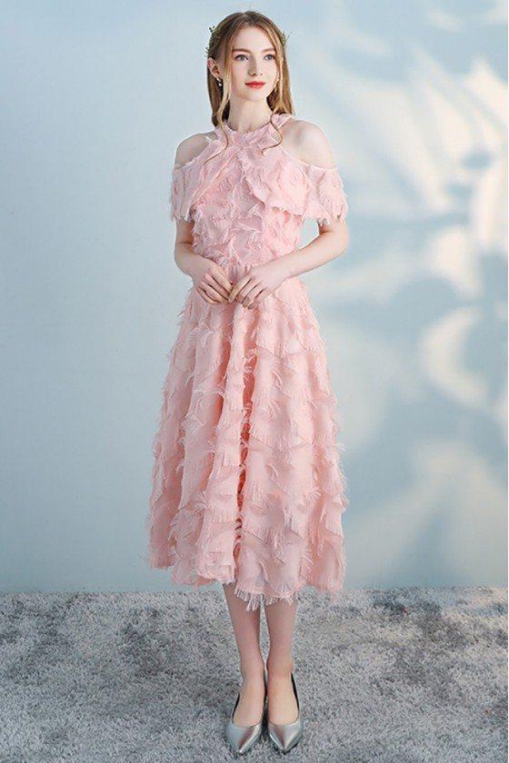 Pink Tea Length Halter Party Dress Aline with Cold Shoulder