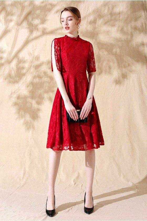 Red Lace Short Aline Formal Party Dress with Lace Sleeves