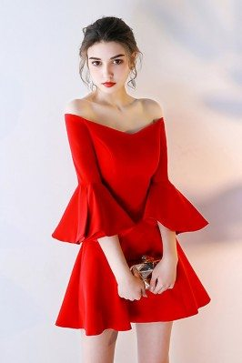 Red Off Shoulder Short...