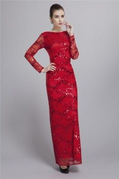 Sequin Embroidery Long Sleeve Formal Dress