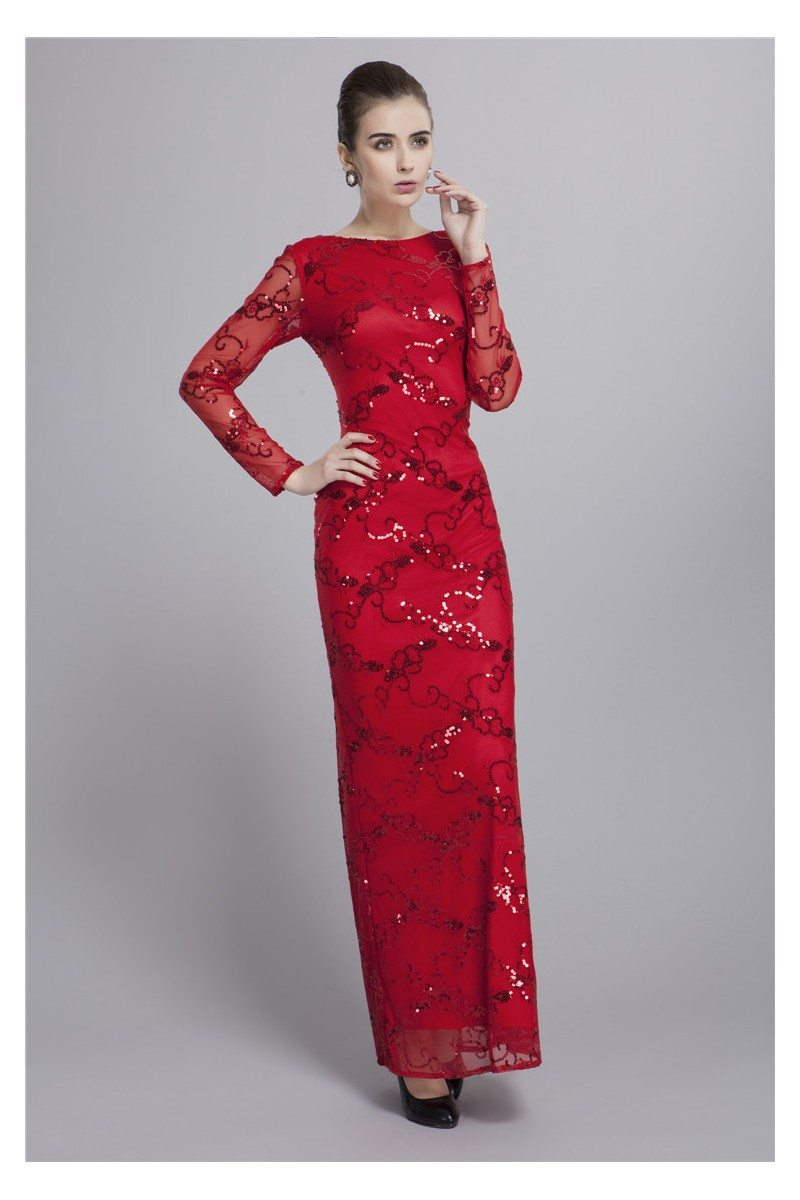 Sequin Embroidery Long Sleeve Formal Dress - $99 #CK144 - SheProm.com