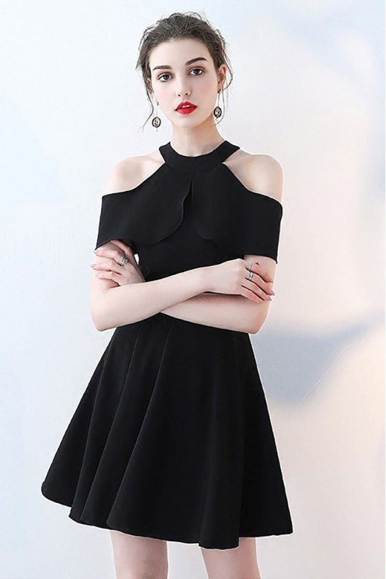 Black Aline Short Halter Homecoming Dress with Cold Shoulder