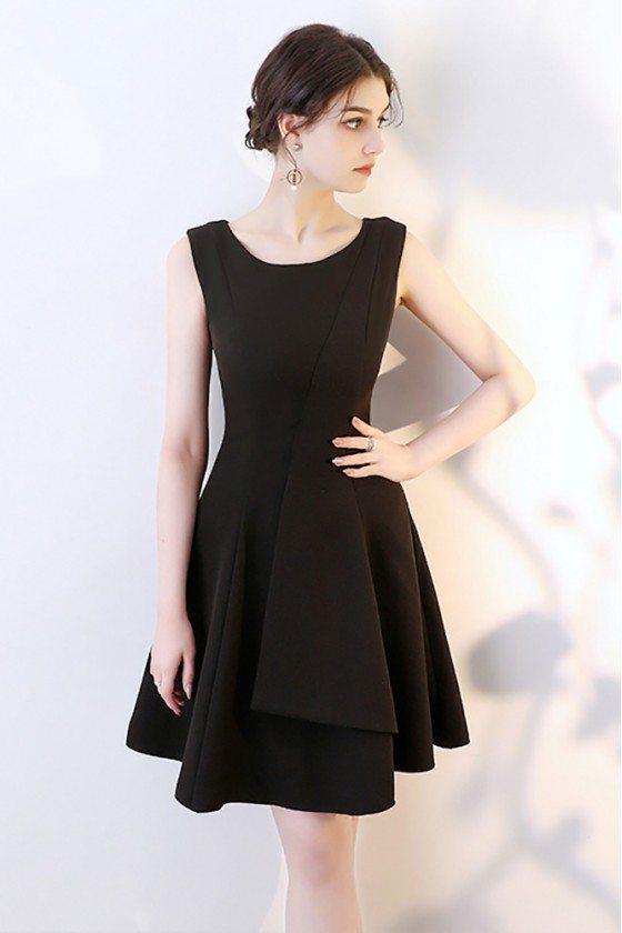 Little Black Aline Homecoming Wrap Dress Sleeveless
