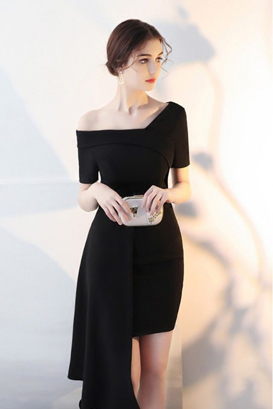 Black Asymmetrical Formal Short Homecoming Dress with Sleeves