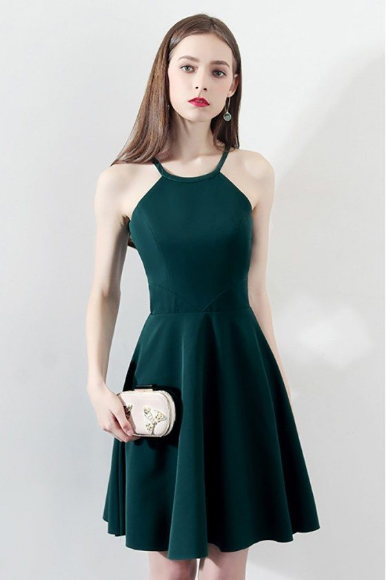 Slim Dark Green Aline Short Homecoming Dress Halter