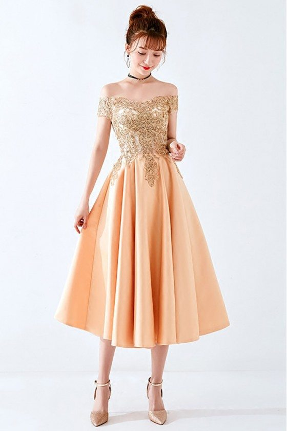 Sparkly Gold Beaded Off Shoulder Homecoming Party Dress 2018