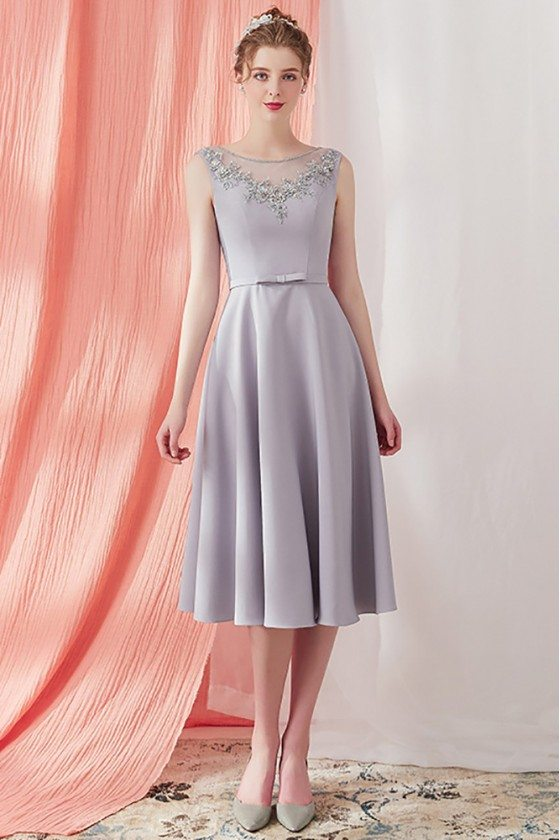 Grey Beaded Neckline Knee Length Party Dress Vintage V Back