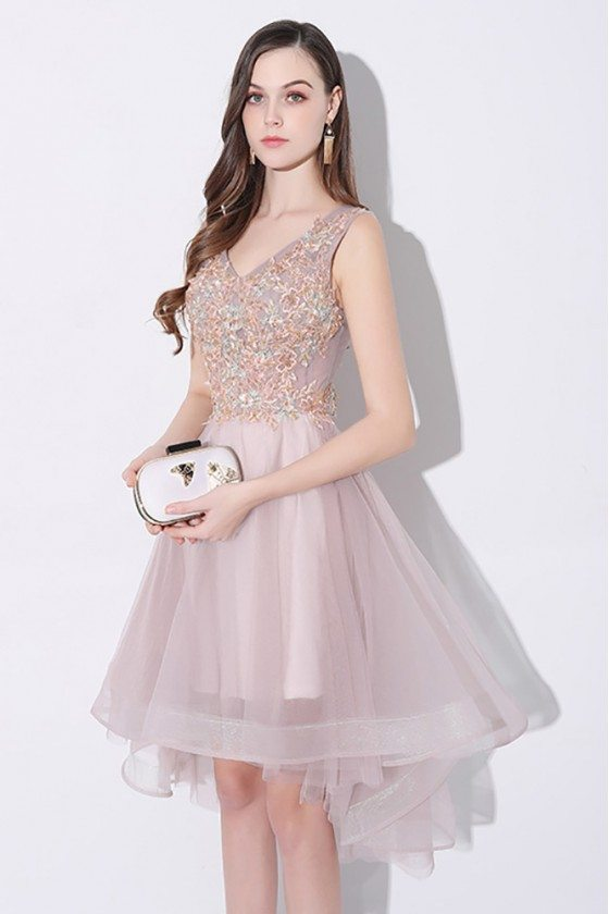 Gorgeous Tulle V-neck Homecoming Prom Dress High Low Sleeveless