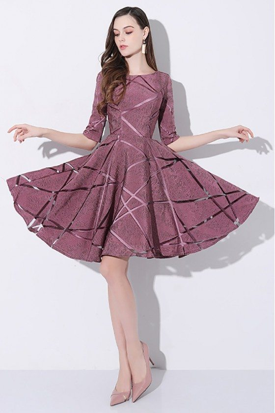 Special Purple Half Sleeved Short Party Dress with Striped Pattern