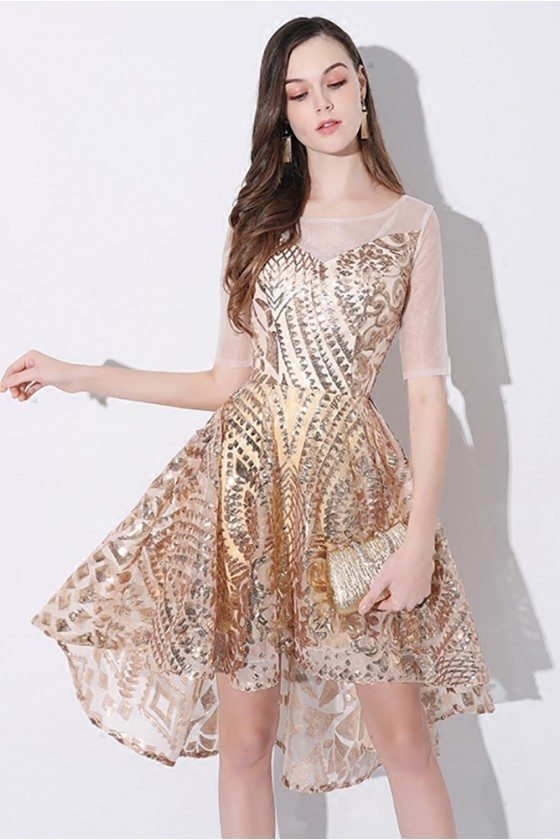 Sparkly Gold Sheer Neck High Low Short Party Dress with Sleeves