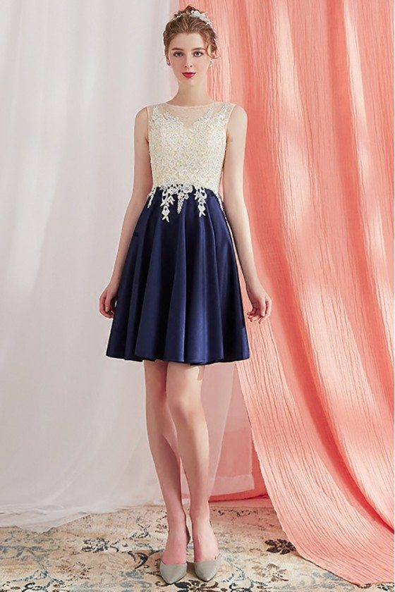 Elegant Champagne and Blue Lace Aline Short Homecoming Dress Navy