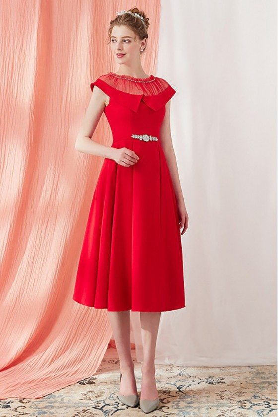 Unique Red Knee Length Party Dress with Illusion Neckline