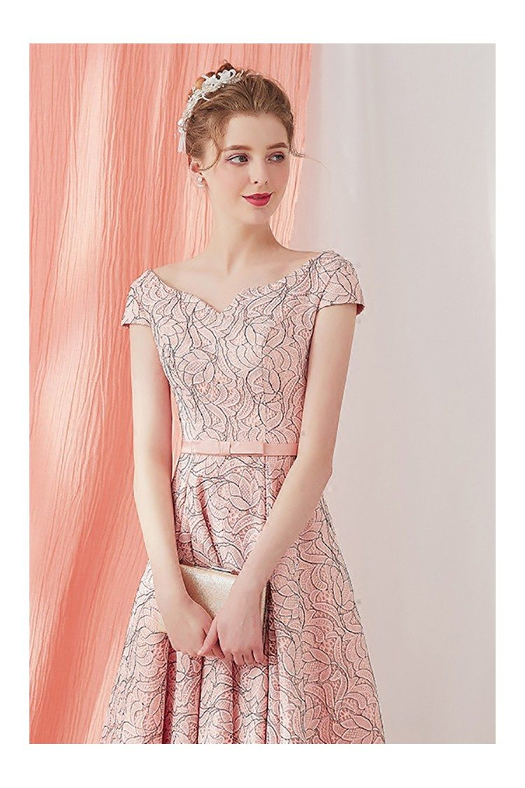 Vintage Lace Pink Party Dress Tea Length with Cap Sleeves - $79 ...