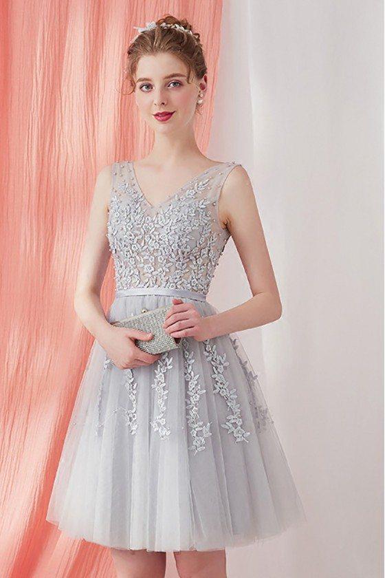 Grey Lace Short Homecoming Dress Tulle Sleeveless