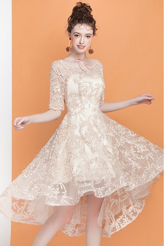 Popular Champagne Lace Homecoming Dress High Low with Short Sleeves