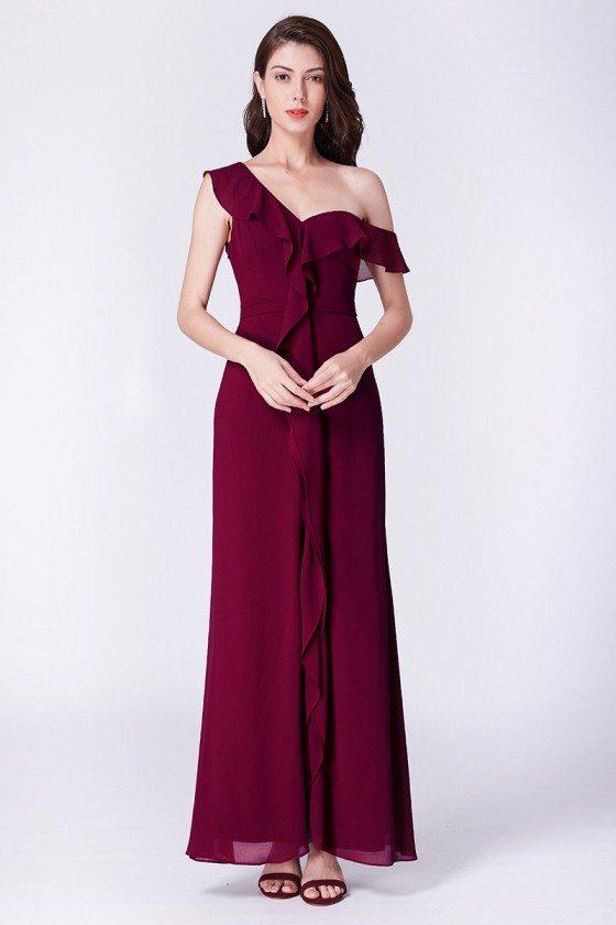 Burgundy Long One Off Shoulder Chiffon Formal Dress With Ruffles