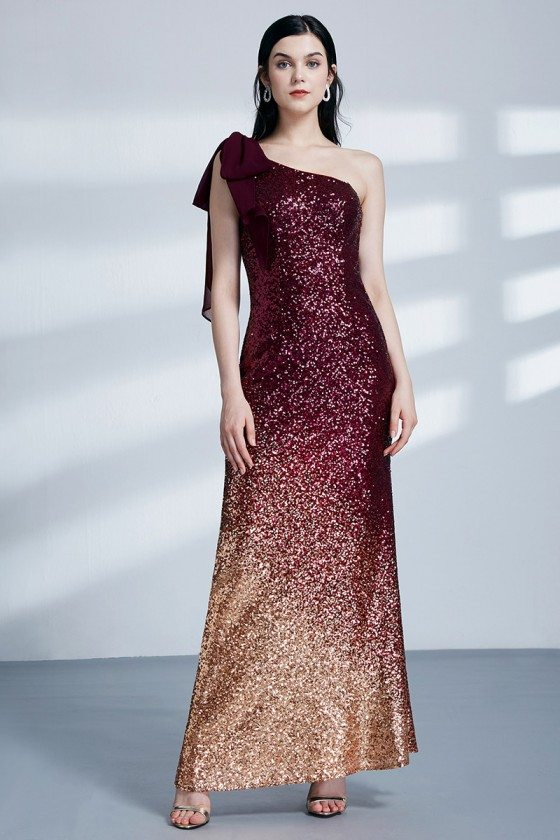 Burgundy And Gold Sparkly Sequined Long Formal Dress With Single Bow Shoulder